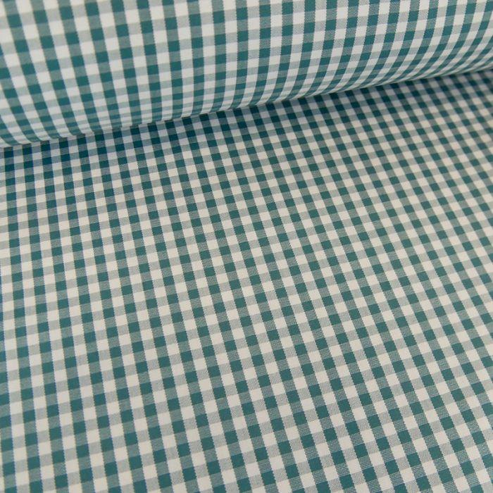 Tissu coton vichy - bleu canard x 10cm