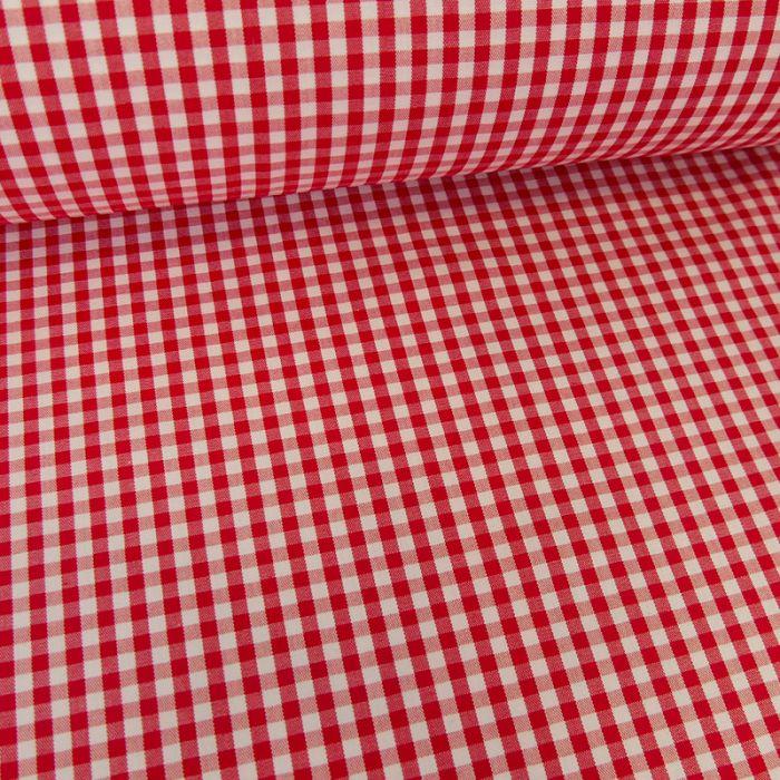 Tissu coton vichy - rouge x 10cm