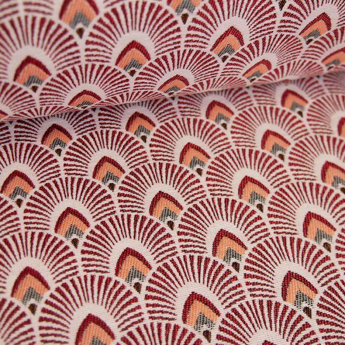 Tissu jacquard écailles - rouge x 10 cm