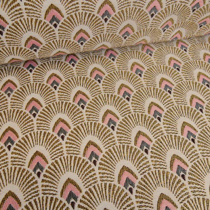 Tissu jacquard écailles or - écru x 10 cm