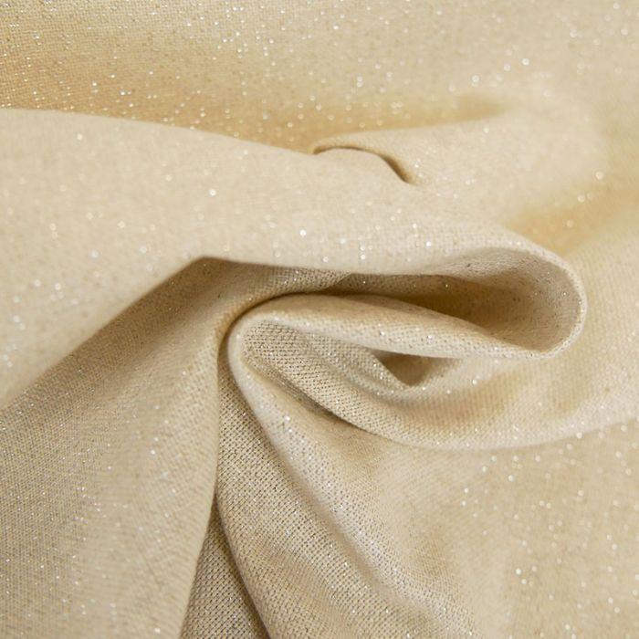 Tissu toile coton lurex - beige x 10 cm