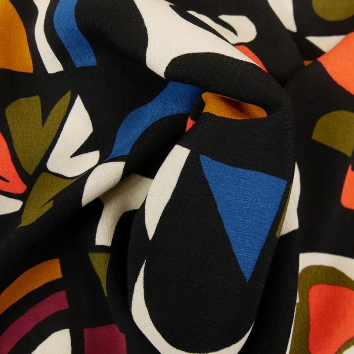 Tissu viscose géométrique - noir x 10 cm