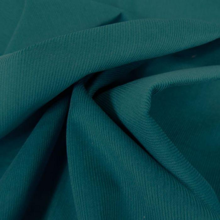 Tissu velours milleraies - bleu canard x 10 cm