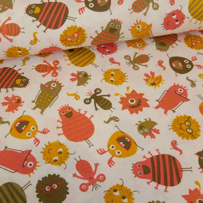 Tissu popeline de coton petits monstres - orange x 10 cm