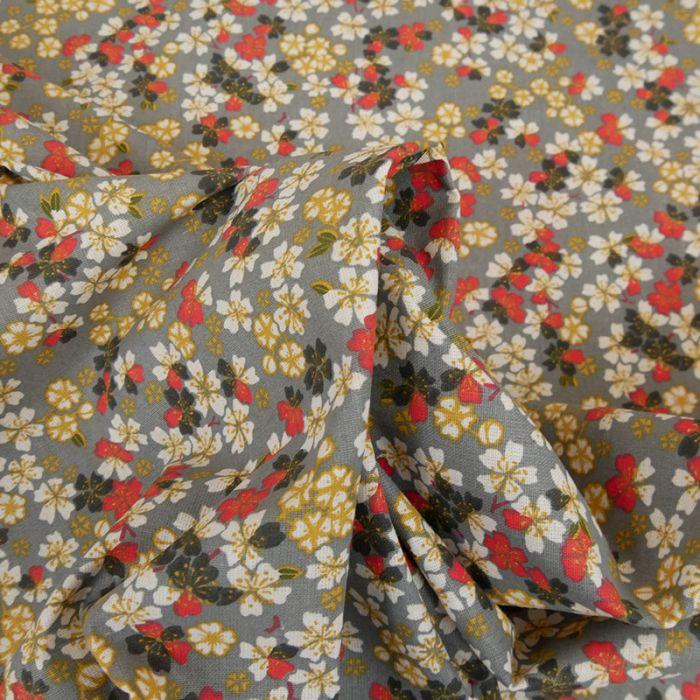 Tissu cretonne fleurs sakura - gris x 10 cm