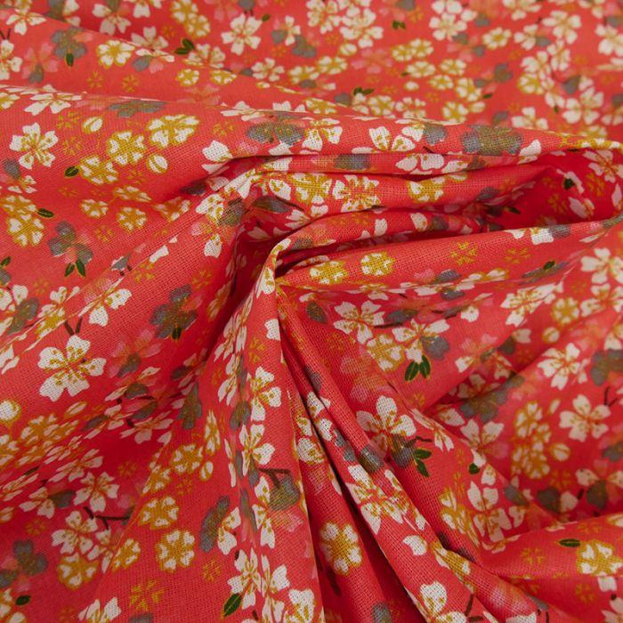Tissu cretonne fleurs sakura - rouge x 10 cm