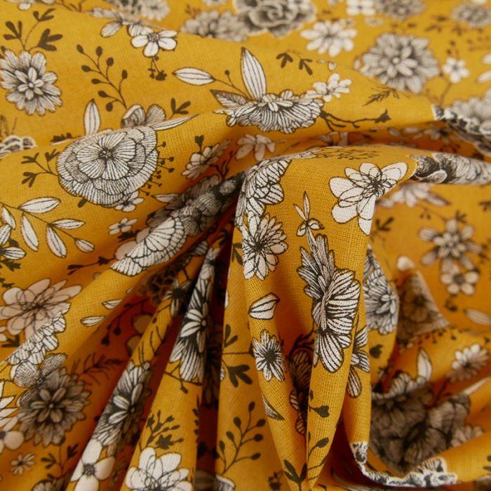 Tissu cretonne à fleurs - moutarde x 10 cm