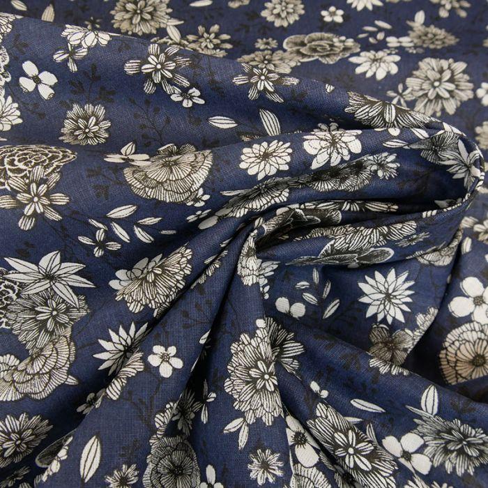 Tissu cretonne à fleurs - bleu marine x 10 cm