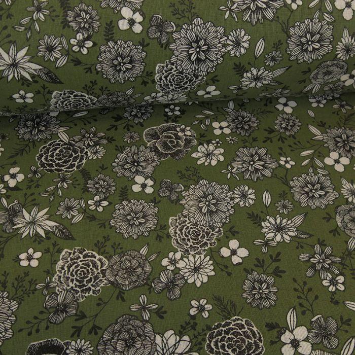 Tissu cretonne à fleurs - kaki x 10 cm