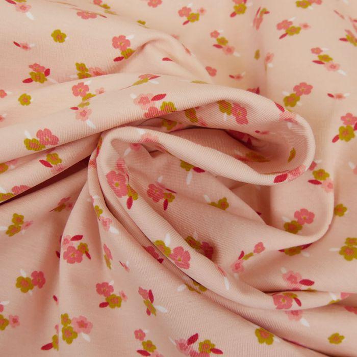 Tissu jersey bio à fleurs Florentine - rose x 10 cm