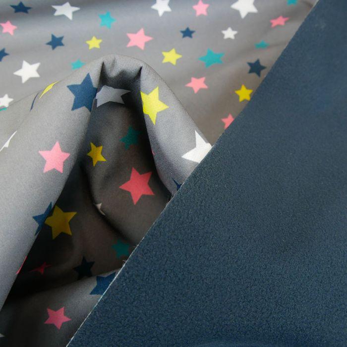 Tissu softshell déperlant étoiles - gris x 10 cm