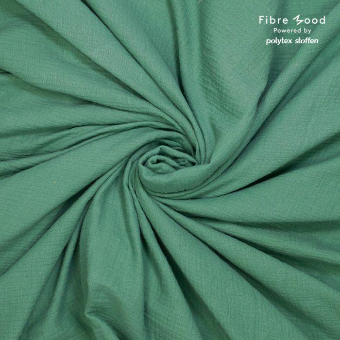 Tissu double gaze de coton vert sapin - Fibre Mood x 10 cm
