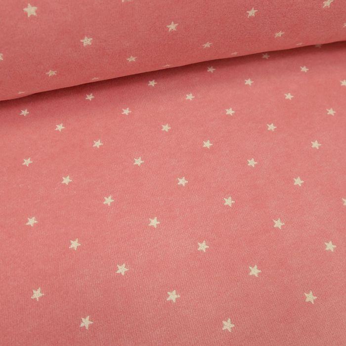 Tissu jersey velours étoiles - rose  x 10 cm