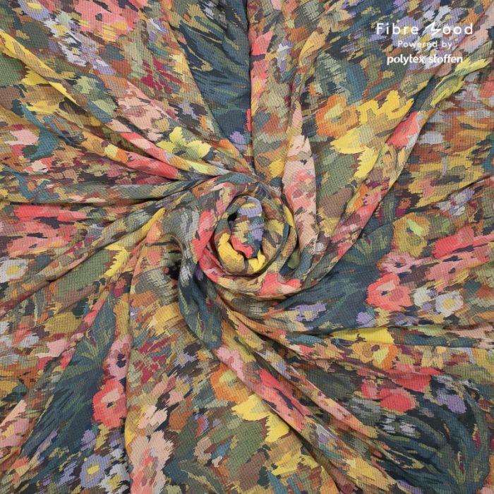 Tissu crêpe de viscose fleurs aquarelle - Fibre Mood x 10 cm