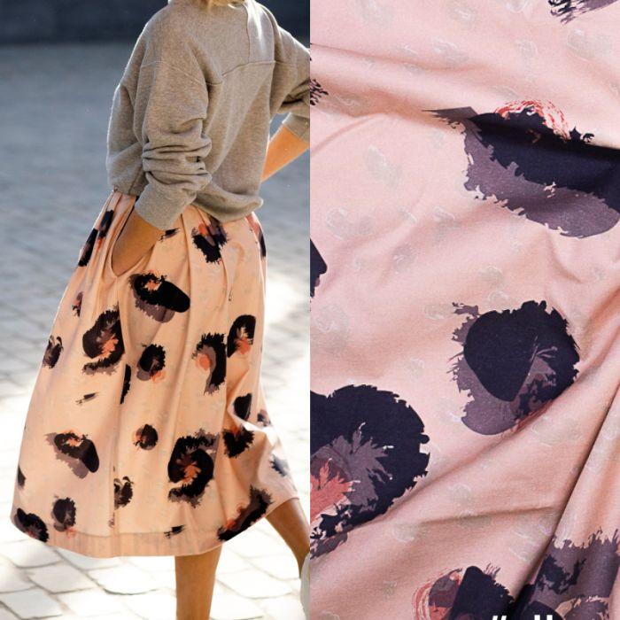 Tissu coton élasthanne léopard rose et violet - Fibre Mood x 10 cm
