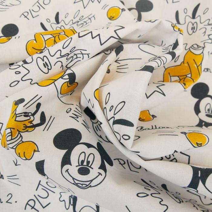 Tissu popeline de coton Disney Mickey et Pluto - blanc x 10cm