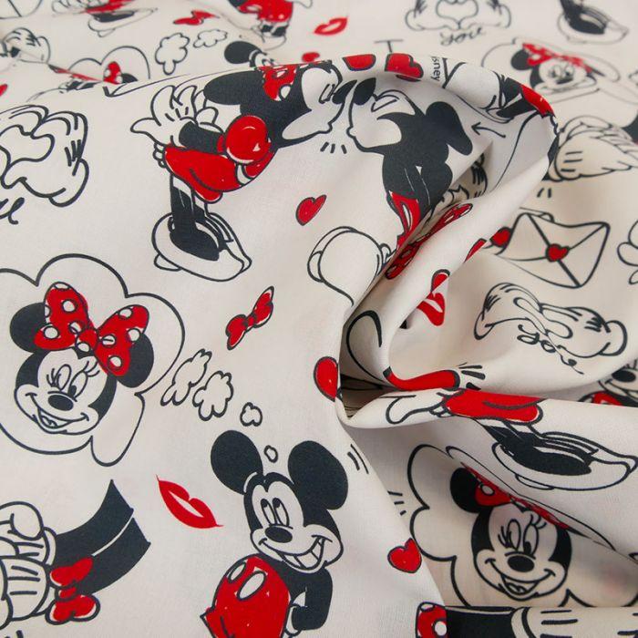 Tissu popeline de coton Disney Mickey et Minnie - blanc x 10cm