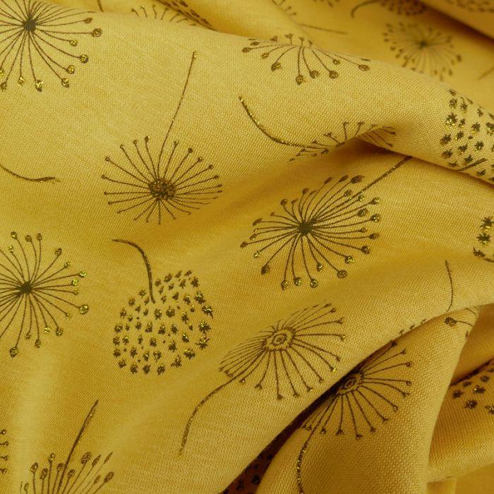 Tissu jersey sweat léger pissenlits glitter - jaune x 10 cm