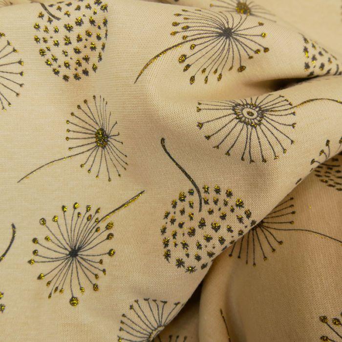 Tissu jersey sweat léger pissenlits glitter - écru x 10 cm