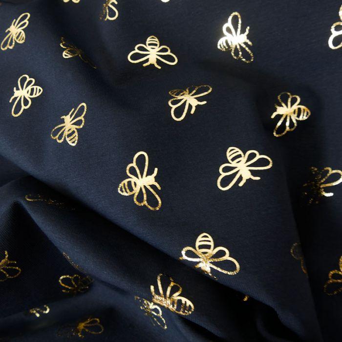Tissu jersey abeilles lurex  - bleu marine x 10 cm