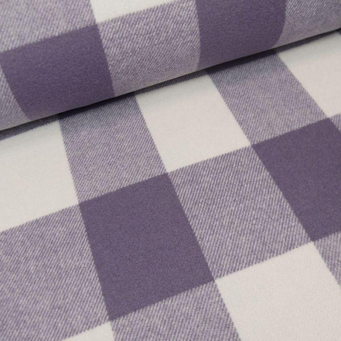 Tissu lainage carreaux - violet x 10 cm