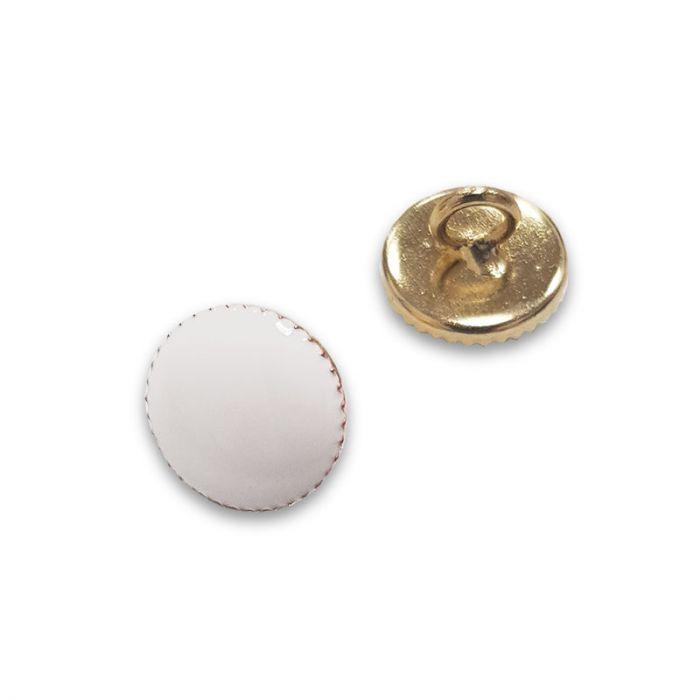 Bouton à pied métal doré - blanc x1