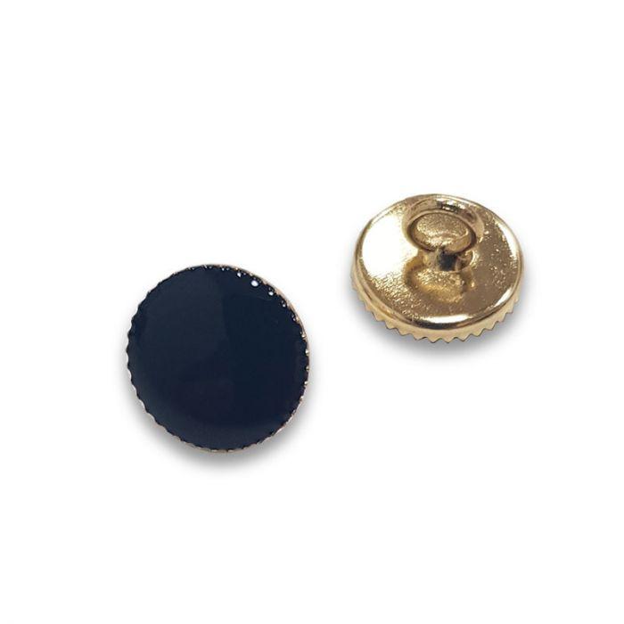 Bouton à pied métal doré - bleu marine x1