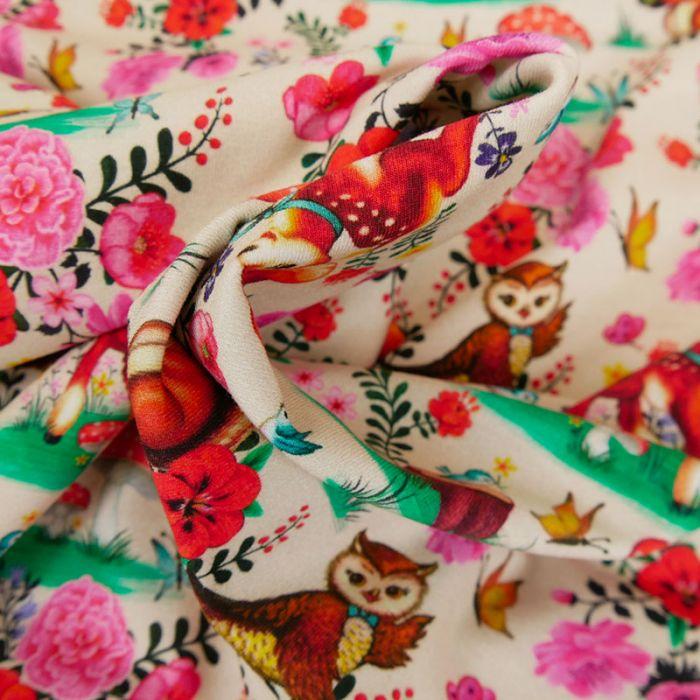 Tissu jersey bio fin Bambi & Friends - beige x 10 cm