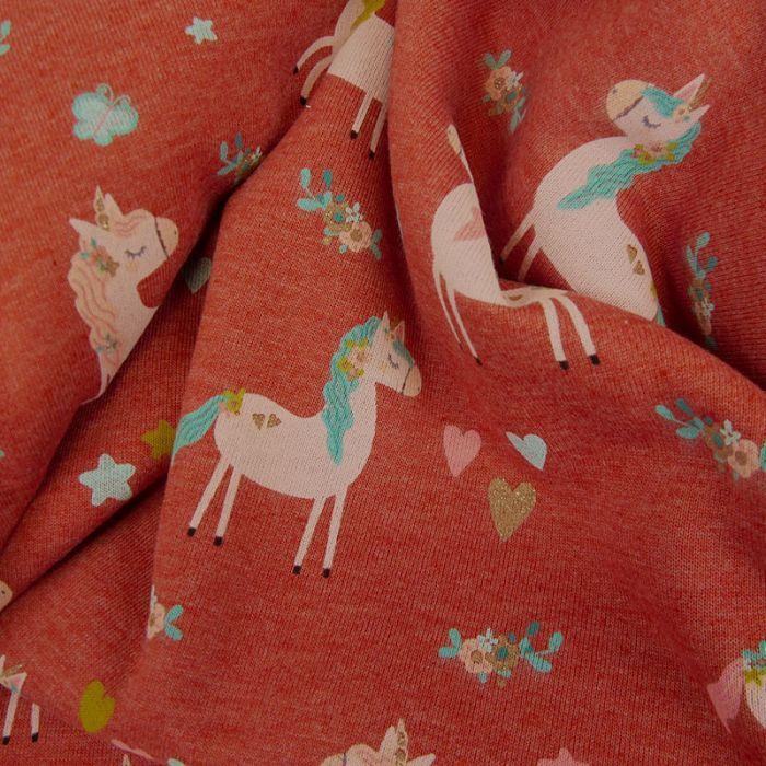 Tissu jersey sweat léger licornes glitter - brique x 10 cm