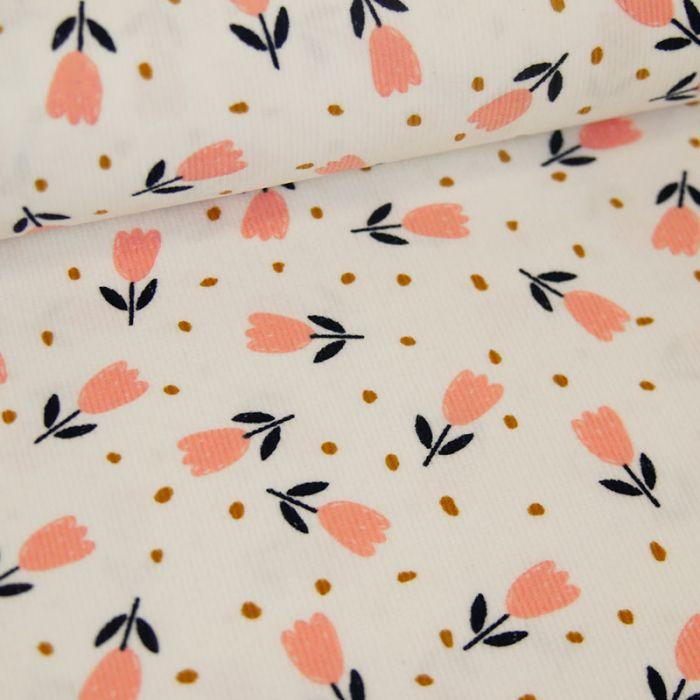 Tissu velours milleraies tulipes - blanc x 10 cm