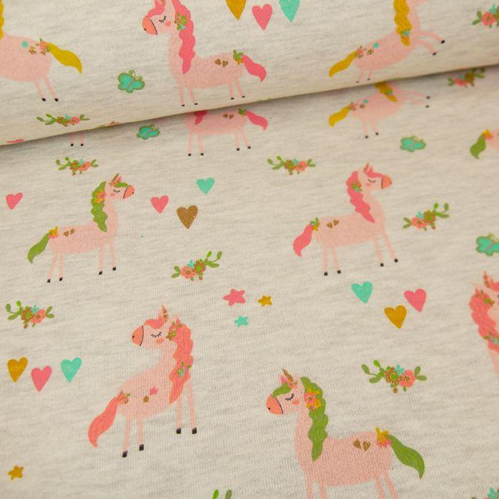 Tissu jersey sweat léger licornes glitter - gris clair x 10 cm