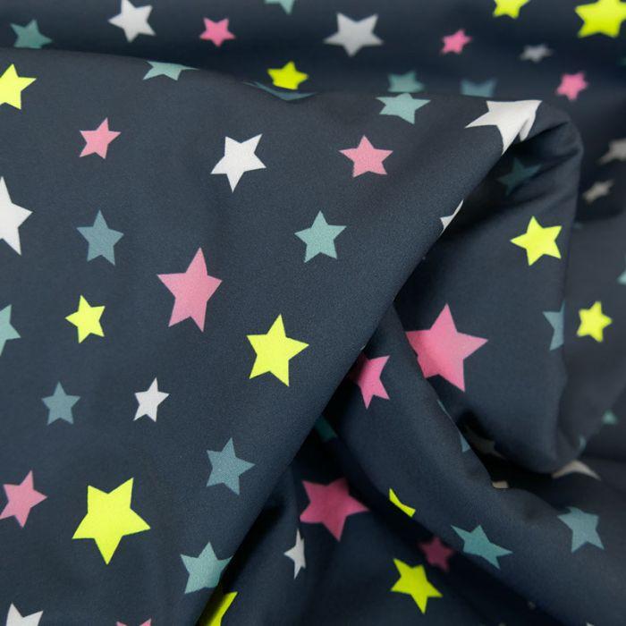Tissu softshell déperlant étoiles - bleu marine x 10 cm