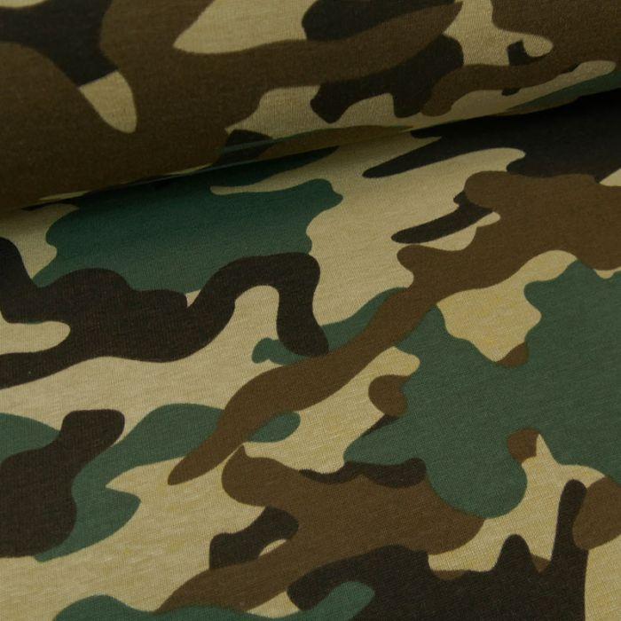 Tissu jersey sweat léger camouflage - kaki x 10 cm