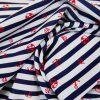 Tissu maillot de bain rayures - bleu marine x 10 cm
