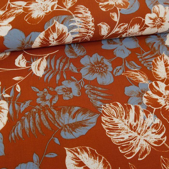 Tissu viscose fleurs Hina - Auburn x 10 cm