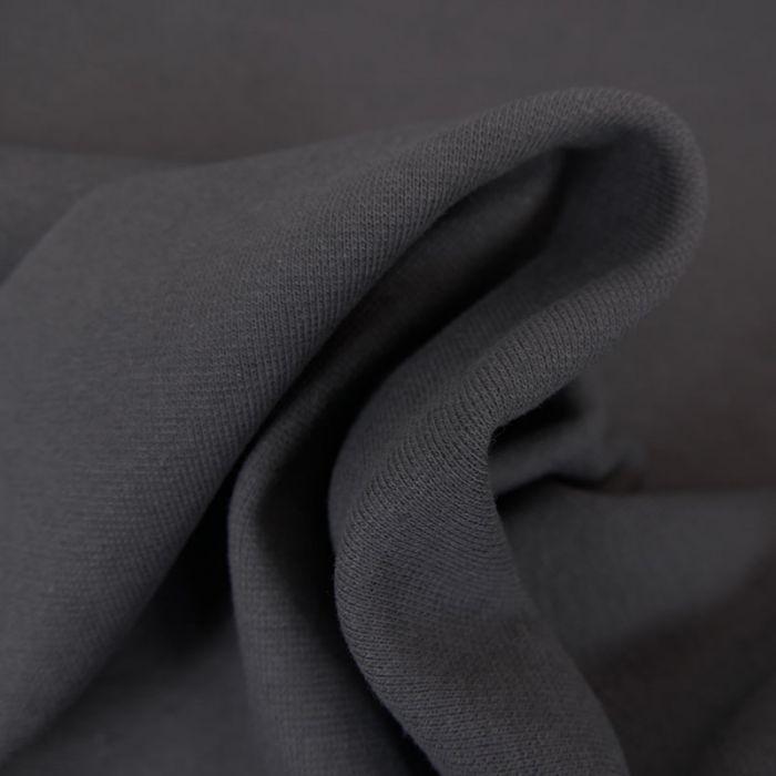 Tissu bord-côte tubulaire gris anthracite - Fibre Mood x 10 cm