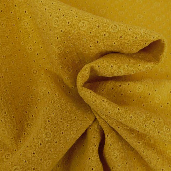 Tissu double gaze brodée Inès - moutarde x 10cm
