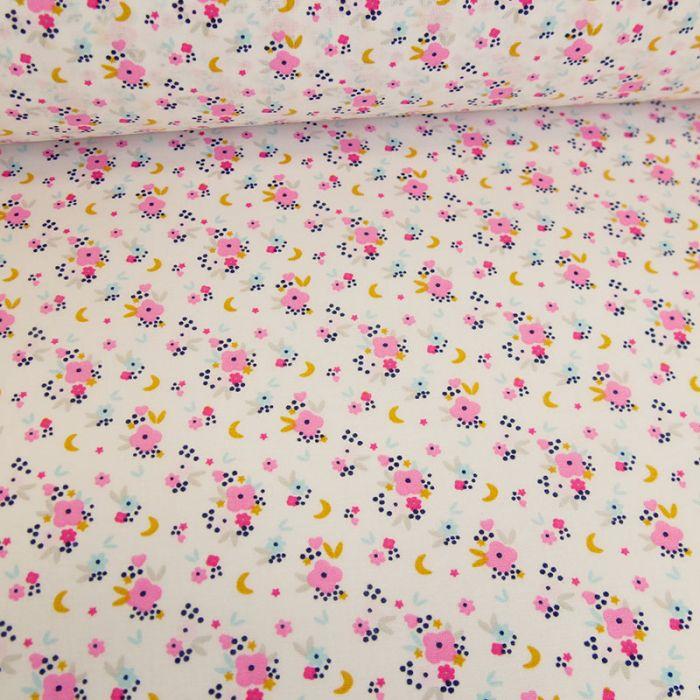 Tissu popeline coton Zoé roses - blanc x 10 cm