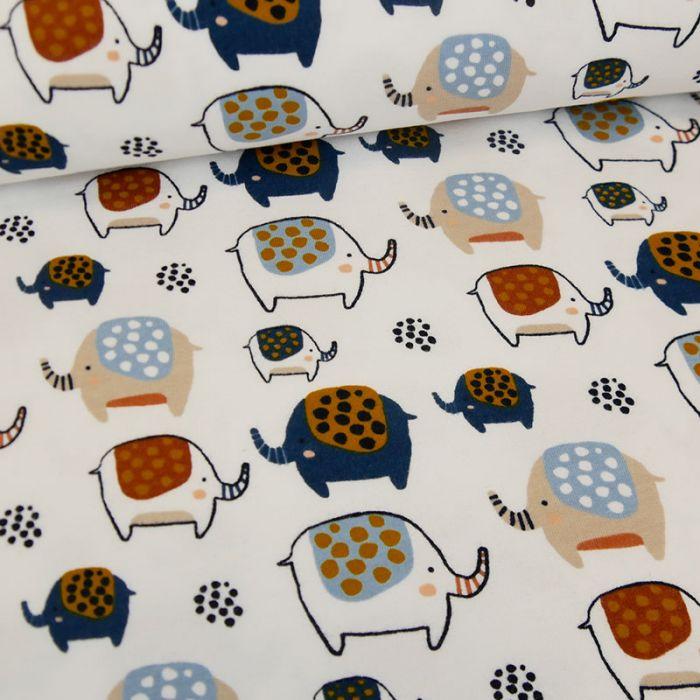 Tissu jersey sweat léger éléphants - blanc x 10 cm