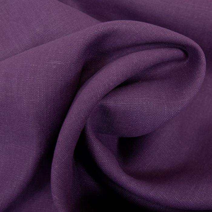 Tissu lin uni - violet  x 10 cm