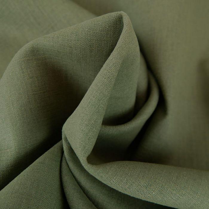 Tissu lin uni - kaki x 10 cm