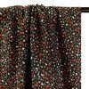 Tissu viscose fleurs rayures lurex - noir x 10 cm