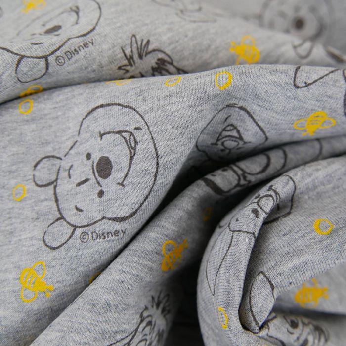 Tissu jersey Winnie l'ourson - gris clair x 10 cm