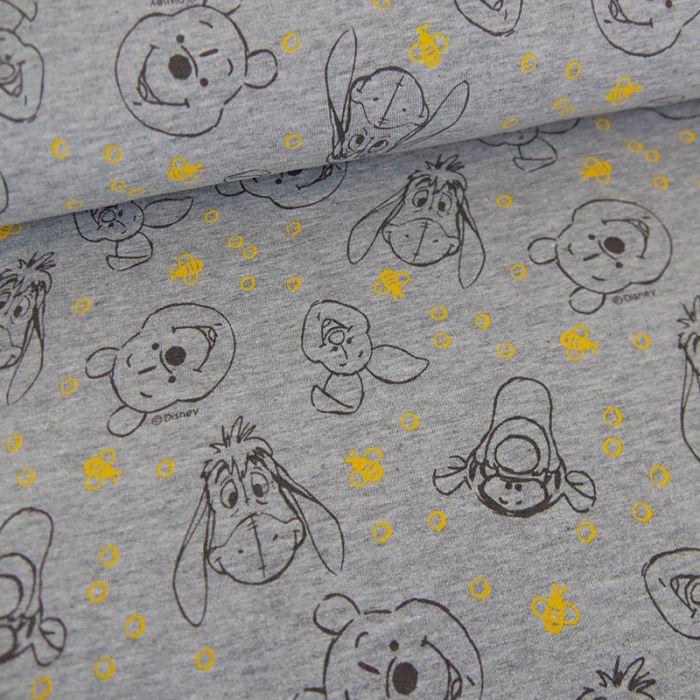 Tissu jersey fin Winnie l'ourson - gris clair x 10 cm