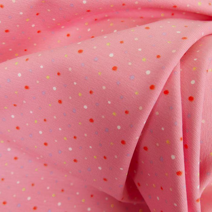 Tissu jersey fin pois - rose x 10 cm