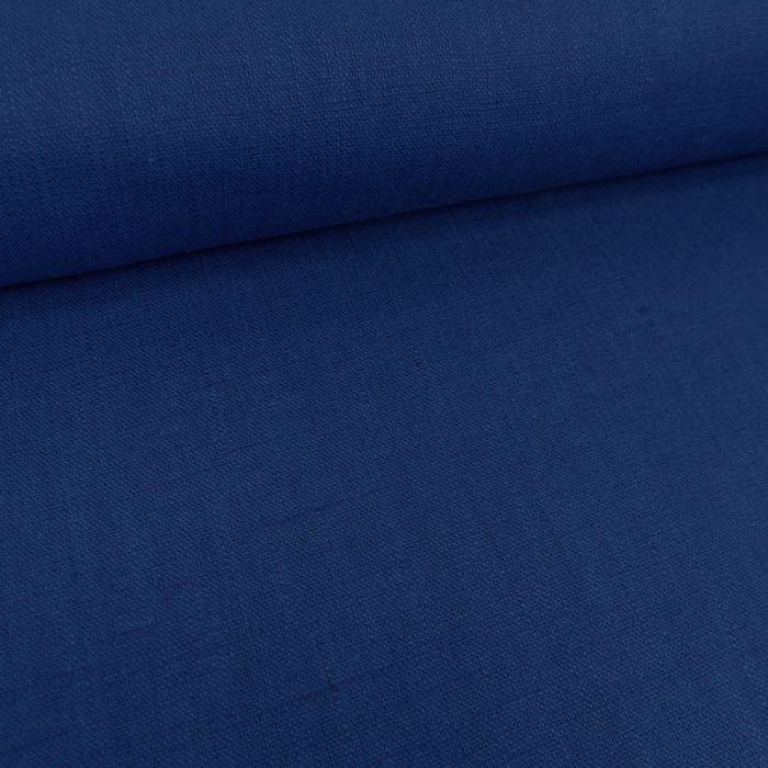 Tissu lin uni - bleu roi x 10 cm