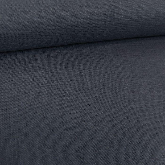 Tissu lin uni - bleu jean x 10 cm