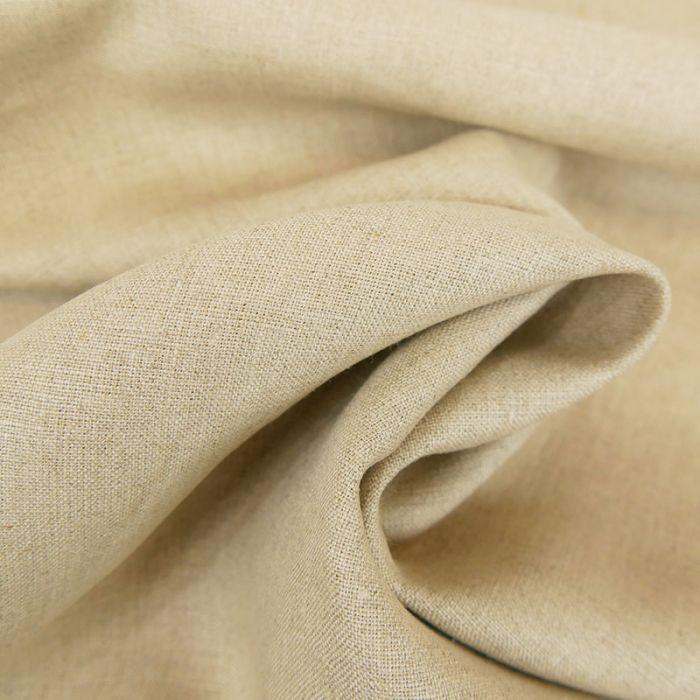 Tissu lin uni - beige x 10 cm