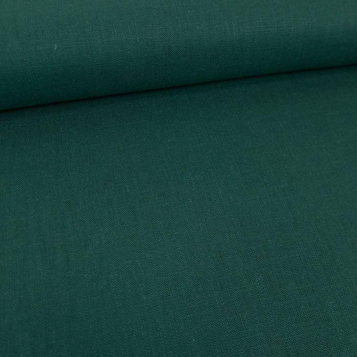 Tissu lin uni - vert pin x 10 cm