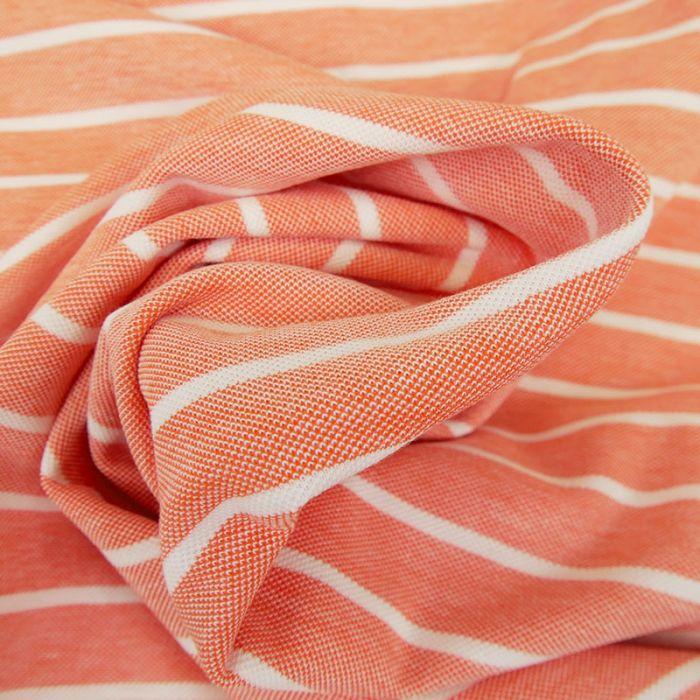 Tissu jersey piqué rayures - saumon x 10cm